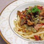 Makaron ze schabem, boczkiem oraz koprem włoskim