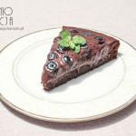 Ciasto czekoladowe z kremem jagodowo-czekoladowym i borówkami