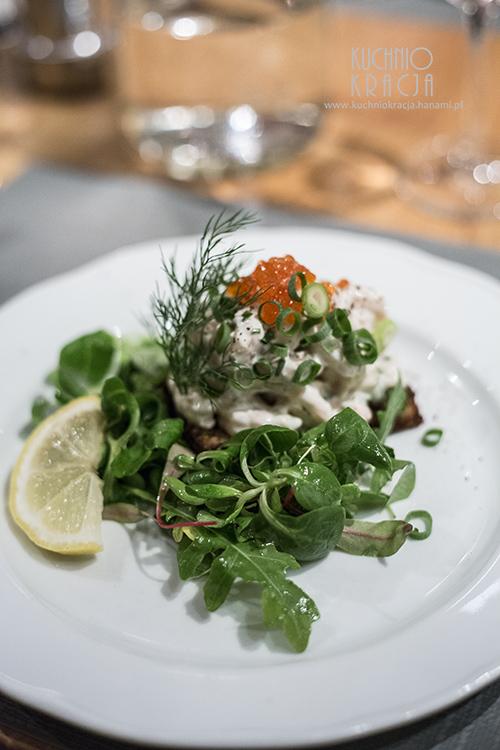 Sałatka z krewetkami, restauracja Brahen Kellari